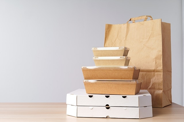 diverse of containers for takeaway food. food delivery