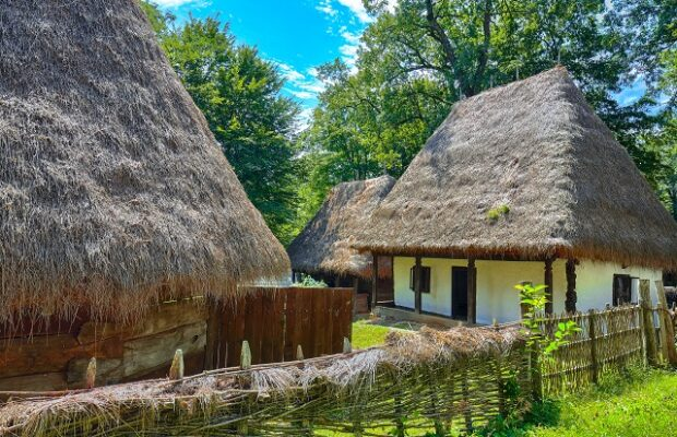 view of traditional romanian peasant houses in transylvania, rom