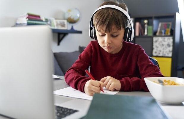 boy in online class during lockdown