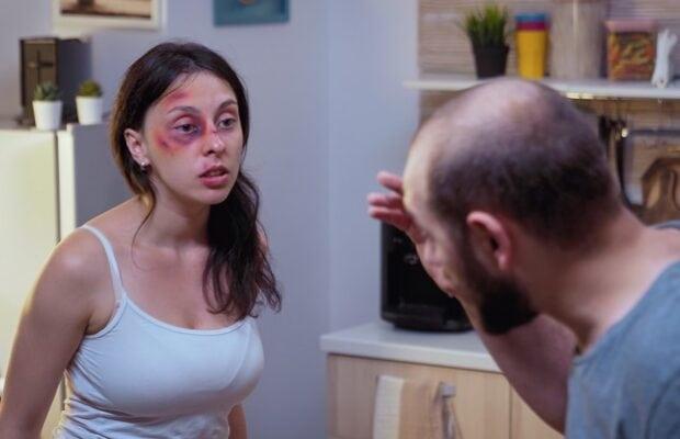 traumatised woman yelling at drunk man